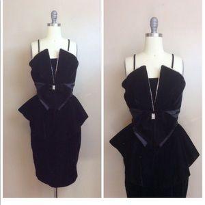 Vintage Black Velvet Rhinestone 80s Party Dress